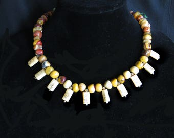 Necklace of Multi-colored Jasper with Flower and Leaf Scrimshaw Elements