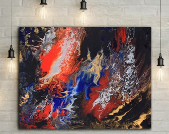 "Acrylic Pour Artwork // Abstract Art // Acrylic Painting // Original Painting // Wall Art // Home Decor // Colorful Artwork // ""Nightmare"""