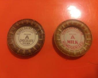 Vintage original antique milk bottle caps, GIBBS DAIRY FARM
