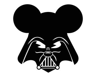 Darth Vader Mickey Mouse Star Wars Graphics SVG dxf eps png cdr ai pdf Vector art Clipart instant download Digital Cut Print files
