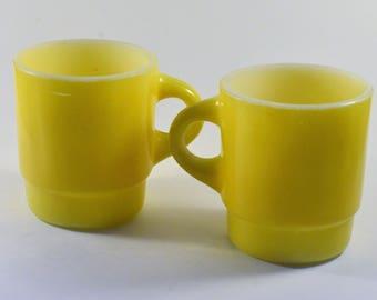 1960's Bright Yellow Anchor Hocking Mugs