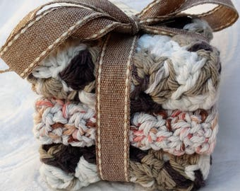 Crochet Cotton Dishcloth gift set of 3, brown and pink