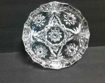 Vintage Large Crystal Clear Glass 'Star of David' Cigarette Cigar Ashtray 10""