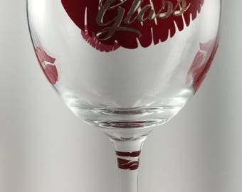 20 OZ Wine Glass Kiss My Glass Design Personalized With Your Name