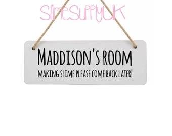 Childrens bedroom sign | Making slime sign| Wall plaques | Slime gifts | Slime sign | Bedroom plaque.