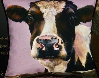 Farmyard Faces Cow Cushion.