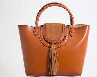 Leather bag - Tote bag with Long Strap, Tan handbag