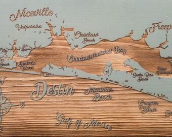 Whimsical Destin Florida Pine Map