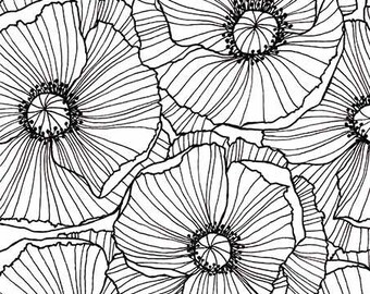 "Print ""Poppies"", black and white"