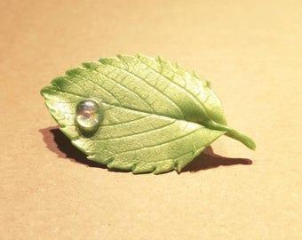 leaf brooch, brooch, polymer clay