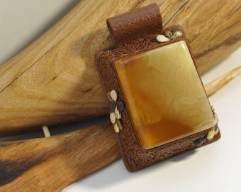 Baltic amber leather, yellow cognac, natural amber