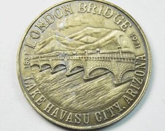 Lake Havasu AZ London Bridge 1975 Rotary Club Dollar 34mm Copper