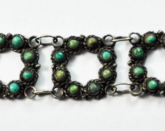 """Mexico Taxco RAFMEX Damaso Gallegos Sterliing Turquoise Cluster 21mm Bracelet 7"""""""