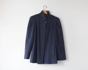 Vintage Navy Blue Wool Coat // Navy Blue and Maroon Portrait by Stevens Wool Winter Coat  // Size Medium