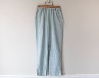 Vintage 1980s Light Blue Trousers // Vintage Alfred Dunner Relaxed Fit // Women's Elastic High Waist Pants // Size 12 Petite