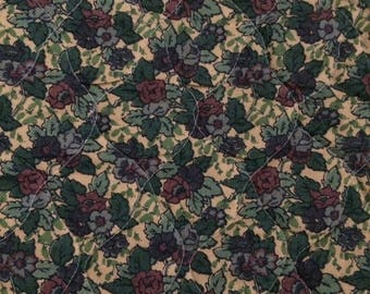 Liberty vintage Jubilee quilted fabric in green and purple floral print