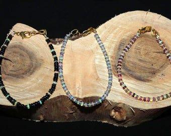 Ethiopian welo opal rondelles bracelet | skinny opal rondelle beads bracelet | tourmaline bracelet | tanzanite bracelet| black opal bracelet