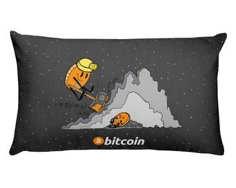 "Bitcoin Miner Rectangular Pillow 20""x12"""
