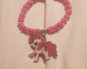 New kids 6mm Pearls Beads stretch bracelet with My little Poney Charm