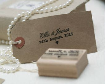 Wedding Stamp with Names And Date Custom Rubber Stamp, Save the Date