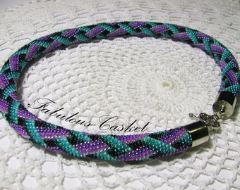 """Bead Crochet Rope Necklace """"Lavender"""""""