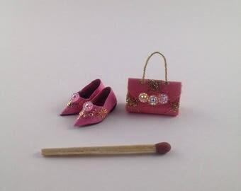 Shoes with Handbag Set (1:12 scale) - Handmade