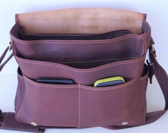 100% Full Grain Leather Flapover Messenger Bag, Laptop Bag - Dark Brown