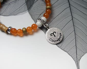 ARIES Zodiac Sign Glass Wood Bead Bracelet Evil Eye Protection Luck Charm