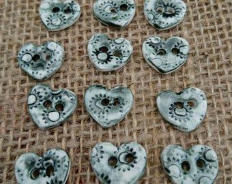 Set of 12 Handmade Ceramic Heart Shaped Steampunk Design Buttons/Craft Buttons/Bespoke Buttons/Crochet/Knitting/Sewing/Fashion/Haberdashery.