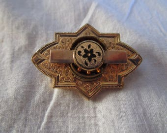 Antique 19th C Victorian Gold Filled Engraved and Enameled Mourning Brooch