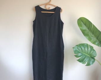 Vintage Linen Dress Plus Size Minimalist Black Long Dress