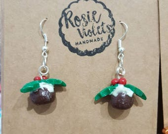 Christmas polymer clay christmas pudding earrings
