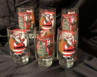 Vintage Coca Cola Christmas Glasses