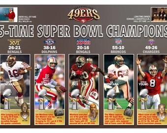5-Time Super Bowl Champions San Francisco 49ers Commemorative Poster