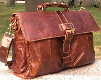 SALE Genuine Italian Leather Briefcase Messenger Business Office Work Mens Vintage Shoulder Bag Birthday Gift Brown Real Luxury Verano