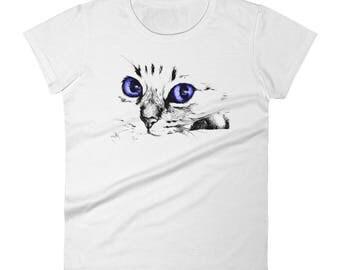 Women T-Shirt Cat Cute Face Big Eyes Short Sleeve - Funny Cat Shirt - Cat Lover Gift – Cat Tshirt – Funny Shirt - Funny Tshirt - Cat Tee