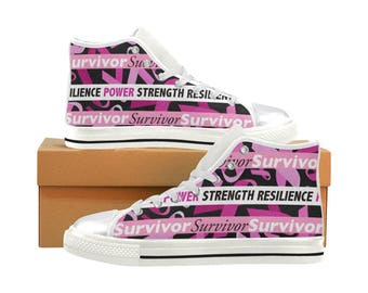 Pink Ribbon - Breast Cancer Awareness - High Top Sneakers (shoe runs large, view size chart)
