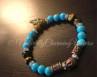 Handcrafted Blue Howlite and Tigers eye Budda Healing Bracelet