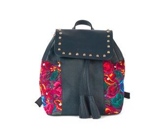 MIXE-leather handbag with handmade embroidery