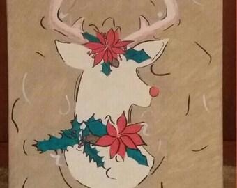 Festive Deer Silhouette Canvas