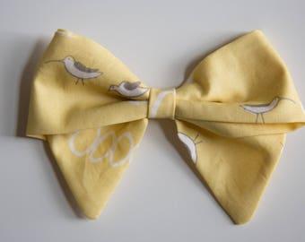 Large & Extra Large Yellow Bird Print Schoolgirl Bow on Headband or Clip