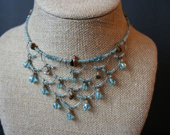 Memory wire tiered Blue crystal choker