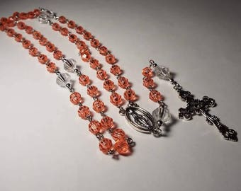 Handmade Coral Pink Catholic Rosary Personalized Free Gift for Baby Girl Baptism Communion Godmother Christmas