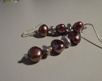 Grey and Purple Freshwater Pearl Earrings