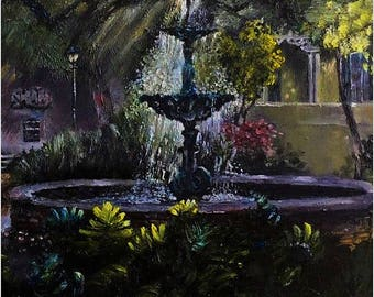 Afternoon Tranquility in Savannah, Georgia, Oil painting on Canvas, 18 in x 24 in