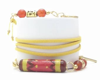 Cold Porcelain Tube Wrap Bracelet, Stainless Steel Beads, Rings and Claps, Natural Stone Beads, Yellow Color Velvet Cord