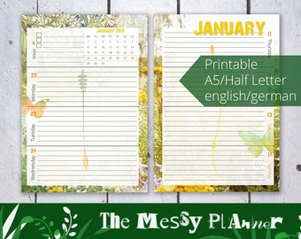 Weeklyplanner THE MESSY PLANNER 2018, Printable, includes January - June 2018