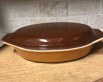 Pyrex - Vintage Pyrex - Covered Dish - Brown Pyrex