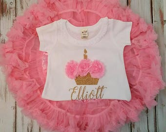 Bubblegum Pink and Gold Glittery 3d Rosette Cupcake Birthday Pettiskirt Onesie and Skirt Set
