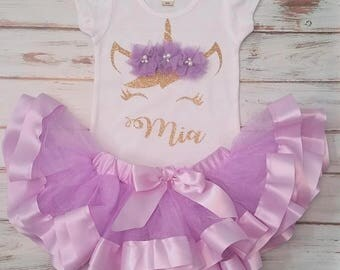 Lavender and Gold Unicorn Personalized Birthday 3d Shirt and Ribbon Tutu Birthday Outfit